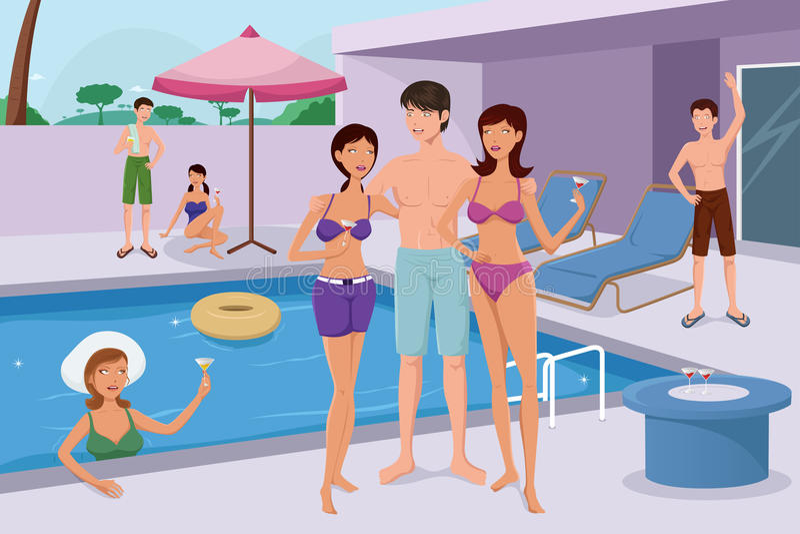 Les jeunes ayant une réception au bord de la piscine illustration stock