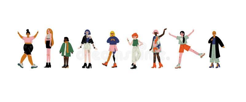 Les jeunes belles femmes de différents aspects ont placé, des personnages féminins, acceptation d'individu, diversité de beauté,  illustration de vecteur