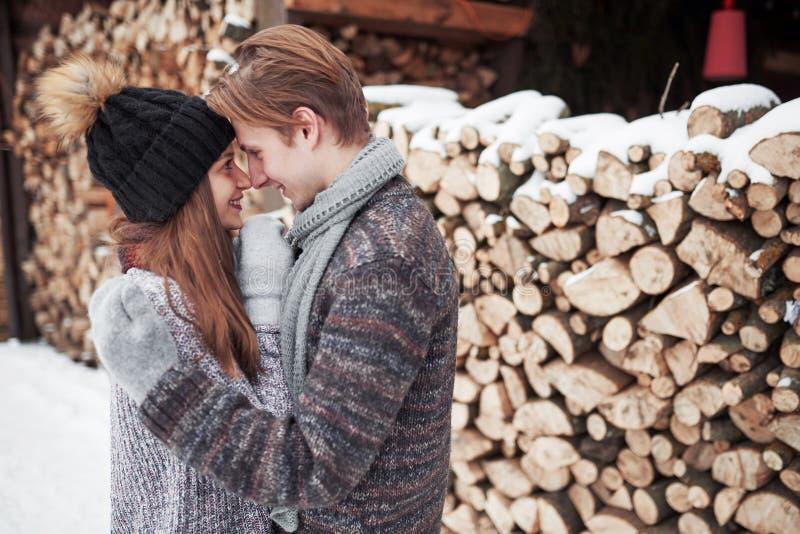 Les jeunes couples heureux en hiver stationnent avoir l'amusement Famille à l'extérieur photos libres de droits