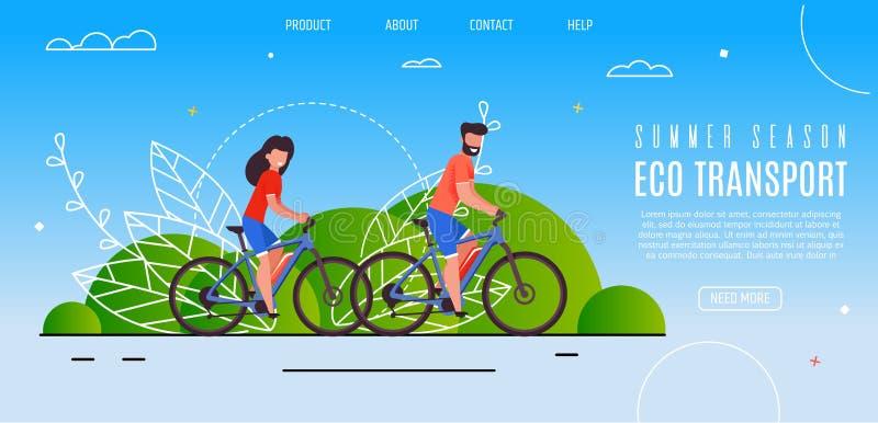 Les jeunes couples ont ouvert le transport d'Eco de saison d'été illustration stock