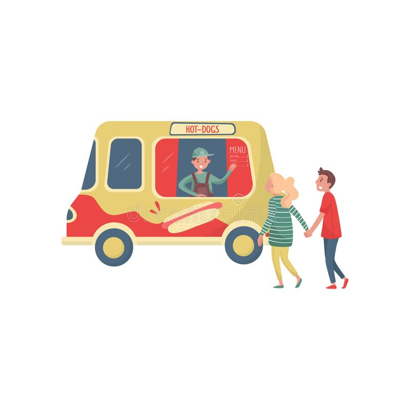 Les jeunes couples s'approchent du camion de hot dog Vendeur gai ondulant à la main Van avec les aliments de préparation rapide d illustration stock