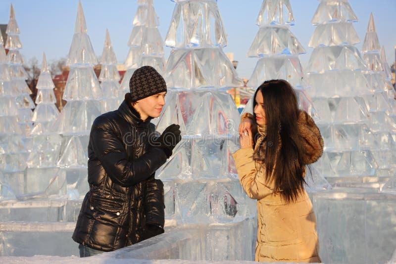 Les jeunes couples tiennent le sapin proche de glace dans la forêt de glace photo stock