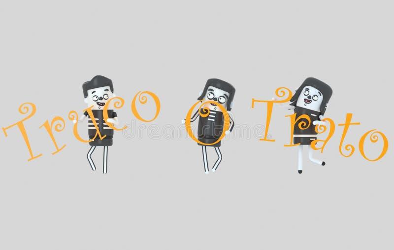 Les jeunes dans des costumes tenant des lettres de trato de truco Veille de la toussaint illustration 3D illustration de vecteur