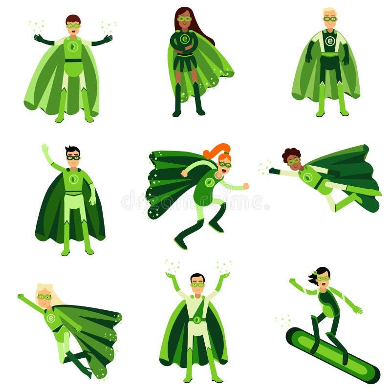 Les jeunes dans des costumes verts de super héros d'eco ont placé des illustrations illustration libre de droits
