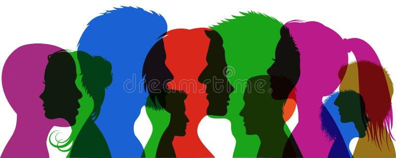 Les jeunes de groupe La silhouette de profil fait face à des filles et à des garçons - vecteur illustration libre de droits