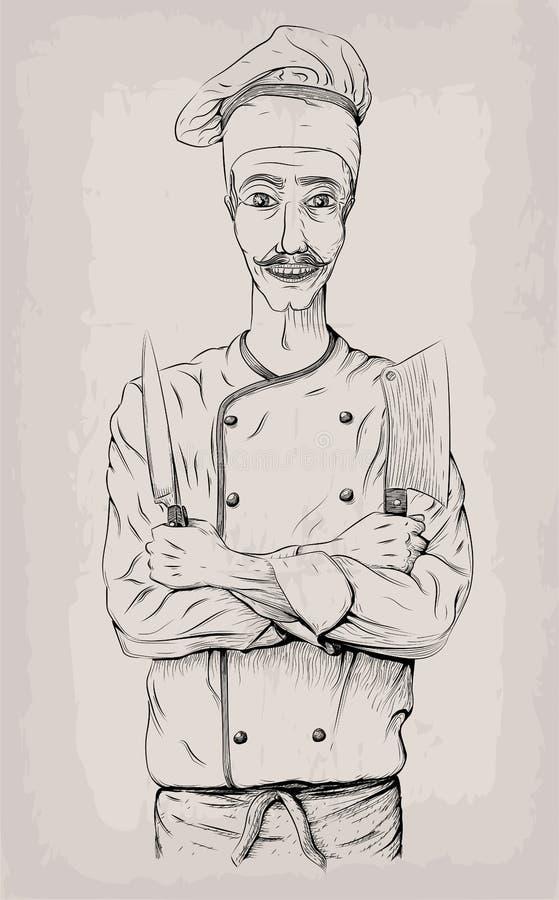 Les jeunes de personne masculine d'hommes font cuire le sourire heureux de travailleur de chef de chef-cuiseur illustration stock