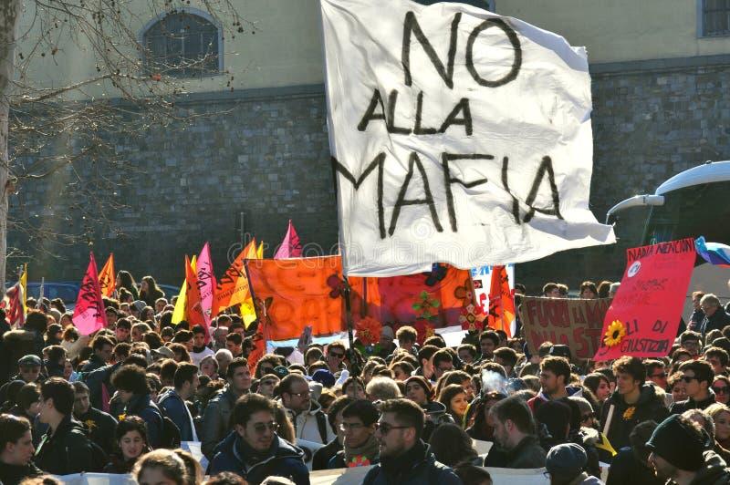 Démonstration contre la Mafia, la foule, en Italie photos libres de droits