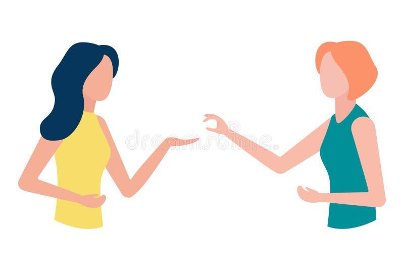 Les jeunes femmes communiquent, agissent l'un sur l'autre La publicité de produit abstraite, consultation, présentation de produi illustration stock
