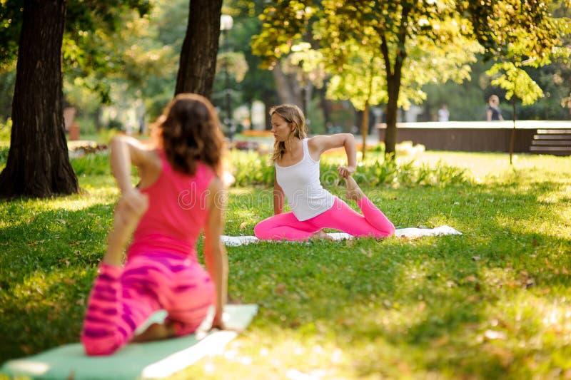 Les jeunes femmes minces faisant le yoga s'exerce sur l'herbe dans une PA verte images stock