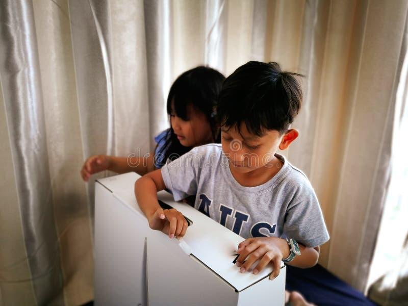 Les jeunes garçons excités avec l'article ont acheté en ligne unboxed à la maison image libre de droits