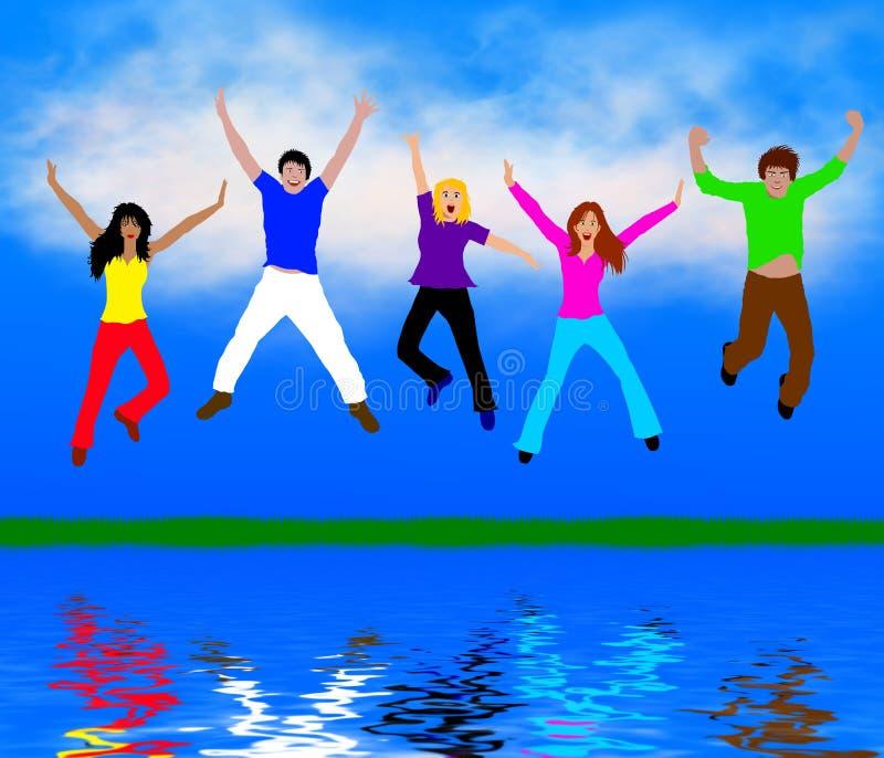 Les jeunes heureux illustration de vecteur