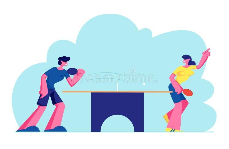 Les jeunes heureux dans les sports ping-pong de jeu uniforme de Ping Pong ou, sport sain et émotions véritables Mode de vie, repo illustration libre de droits