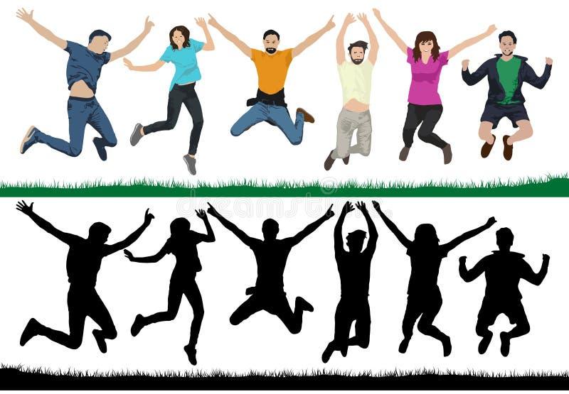 Les jeunes heureux Groupe de personnes dans un saut Jeunesse gaie dans le ciel sur des trempolines Les amis sautent Illustration  illustration libre de droits