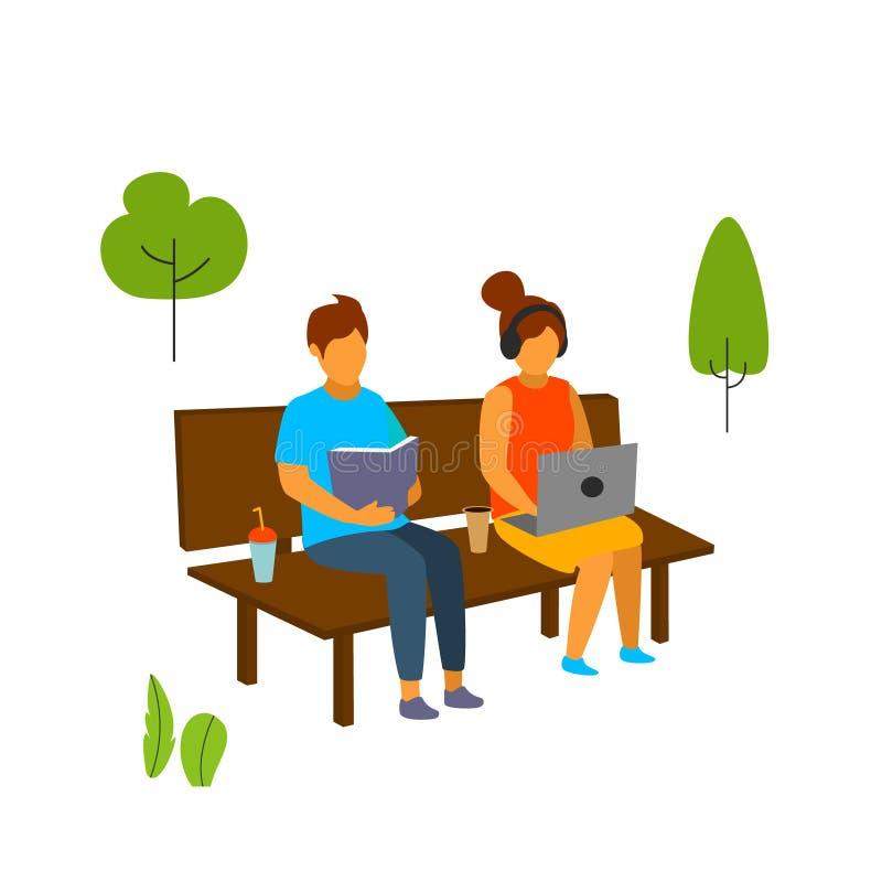 Les jeunes, homme et femme s'asseyant sur le banc en parc illustration de vecteur