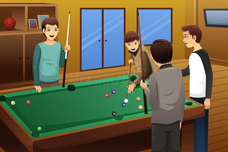 Les jeunes jouant le billard illustration stock
