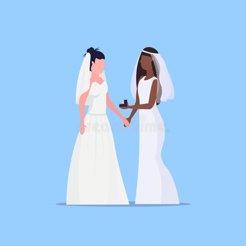 Les jeunes mariées lesbiennes couplent les mêmes filles homosexuelles mariées heureuses de course de mélange du concept deux de m illustration libre de droits