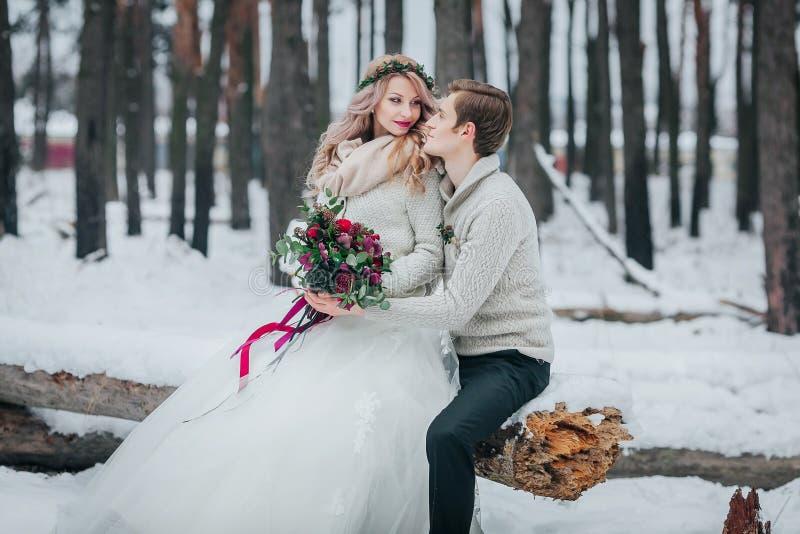 Les jeunes mariés avec un bouquet posent dans le mariage neigeux d'hiver de forêt dessin-modèle photos libres de droits