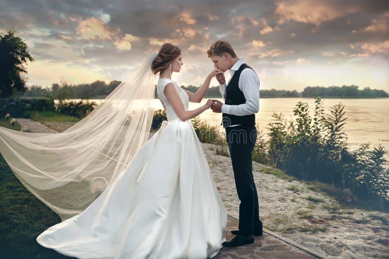 Les jeunes mariés dans des robes de mariage sur le fond naturel Ne photo stock