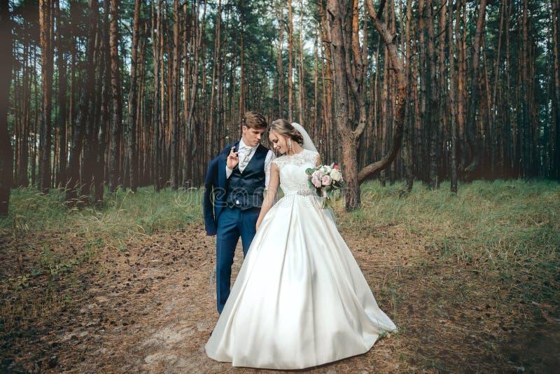 Les jeunes mariés dans des robes de mariage sur le fond naturel Nous photo stock
