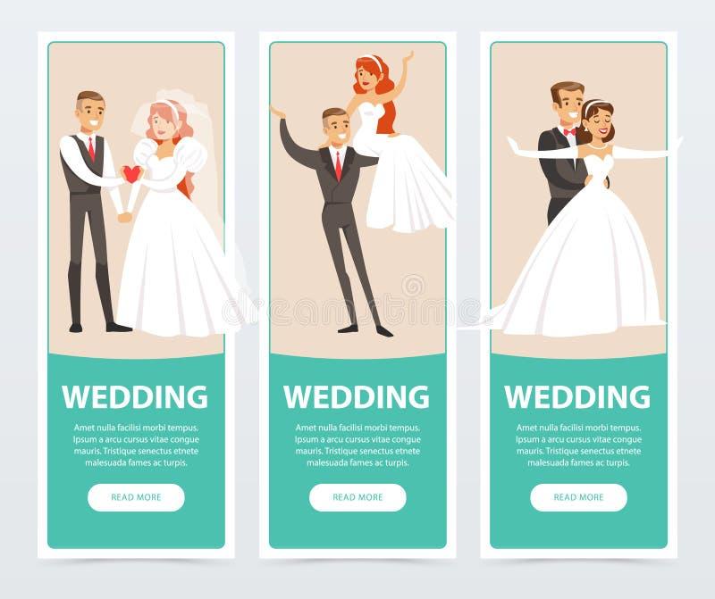 Les jeunes mariés, juste ménages mariés heureux, épousant des bannières ont placé les éléments plats de vecteur pour le site Web  illustration de vecteur