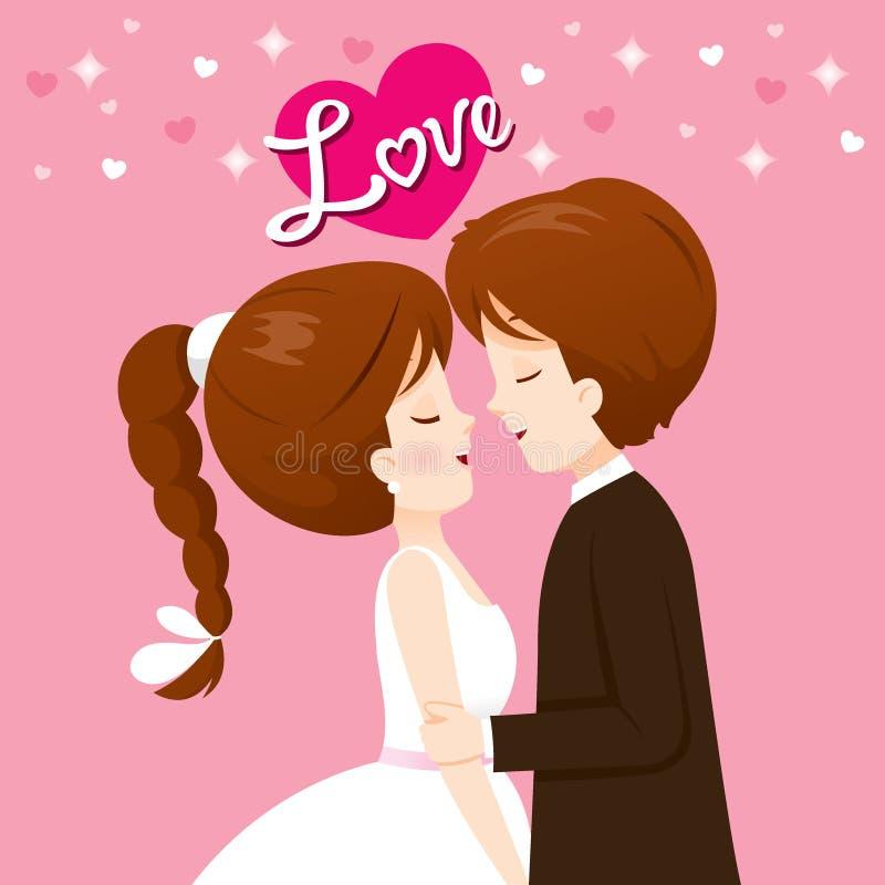 Les jeunes mariés In Wedding Clothing embrasseront illustration stock