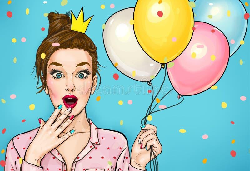 Les jeunes ont étonné la femme avec des ballons colorés et une couronne de princesse sur sa tête Femme stupéfaite de mode illustration libre de droits
