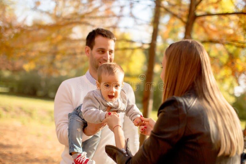 Les jeunes parents heureux avec le bébé garçon en automne se garent image libre de droits