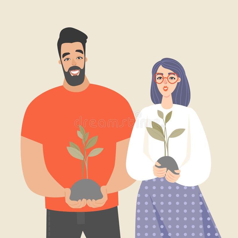Les jeunes tiennent un jeune arbre et un sourire Illustration conceptuelle des personnes commençant leurs affaires illustration stock