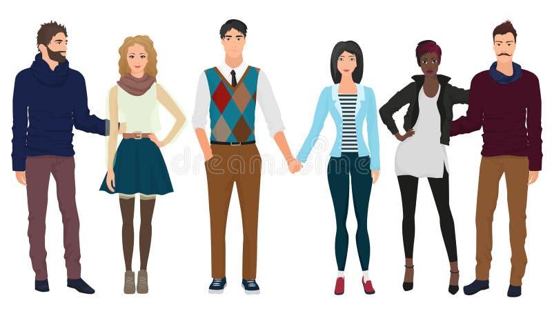 Les jeunes types beaux avec de belles filles modèle des couples dans des vêtements modernes occasionnels de mode Couples de perso illustration stock