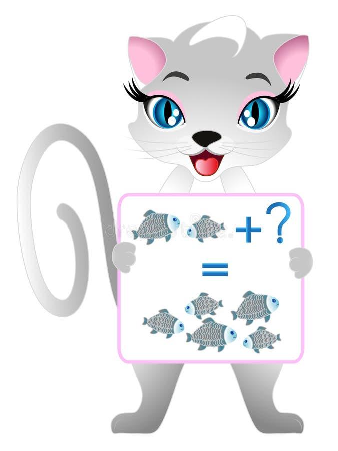 Les jeux éducatifs pour des enfants, illustrent la préparation mathématique, avec des poissons illustration libre de droits