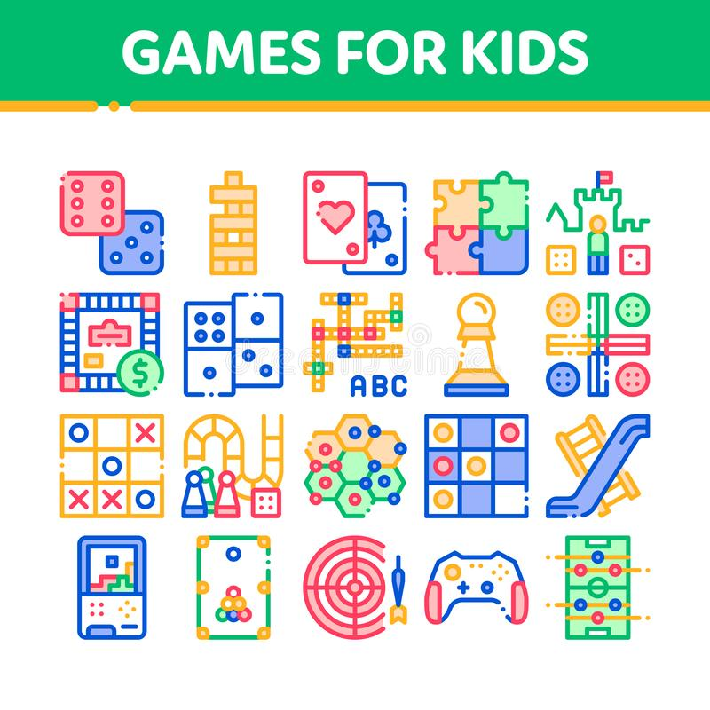 Les jeux interactifs d'enfants dirigent la ligne mince ensemble d'icônes illustration de vecteur