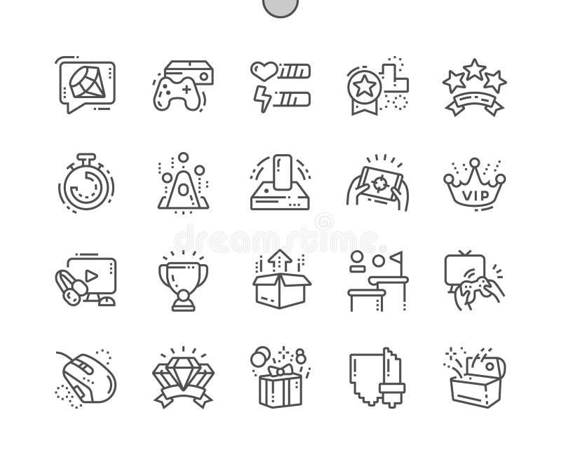 Les jeux vidéo Bien-ont ouvré la ligne mince de vecteur parfait de pixel la grille 2x des icônes 30 pour des graphiques et Apps d illustration libre de droits
