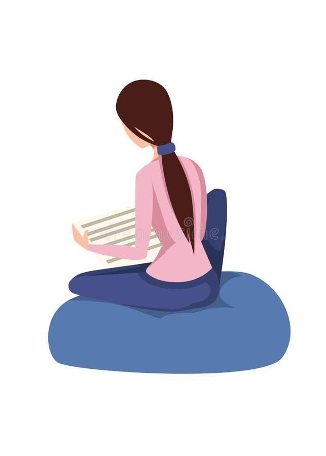 Les jolies femmes reposent et lisent le journal Conception de personnage de dessin anim? Fille brune mignonne de cheveux Illustra illustration de vecteur