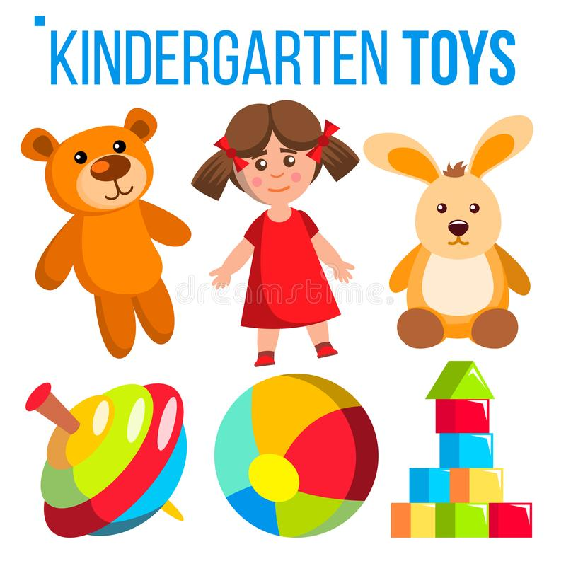 Les jouets de jardin d'enfants ont placé le vecteur Articles colorés pour des enfants Pièce préscolaire de jeu, terrain de jeu Ba illustration de vecteur