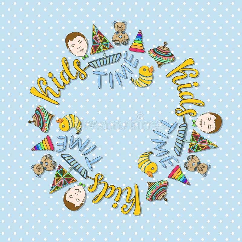 Les jouets encadrent ou couvrent la décoration Le fond puéril de vecteur de bande dessinée pour des enfants stockent l'album phot illustration libre de droits