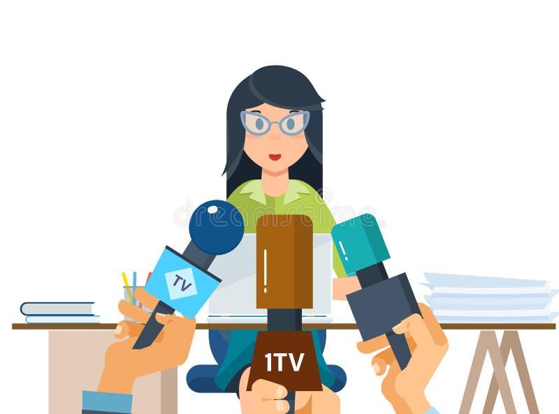 Les journalistes de journalistes prennent à entrevue un employé de société, près du lieu de travail illustration libre de droits
