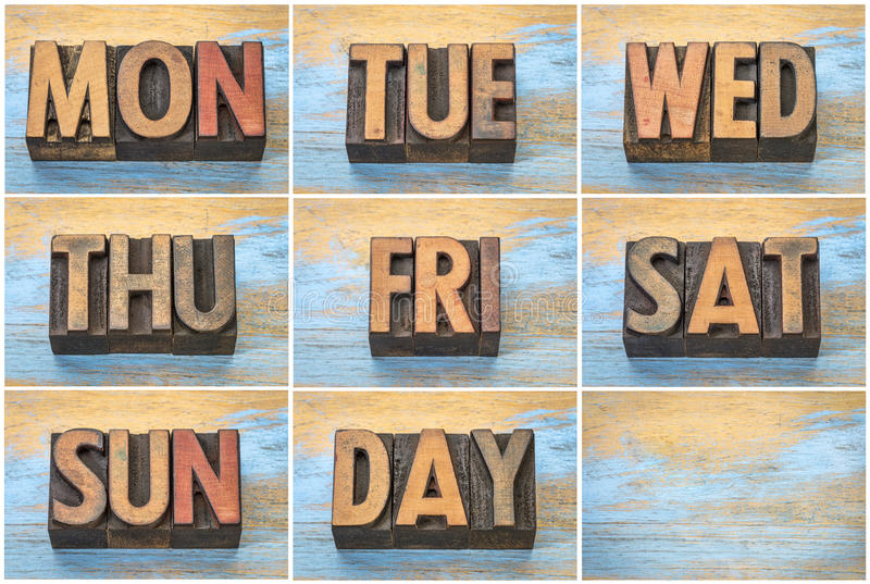 Les jours de la semaine en bois d'impression typographique de vintage dactylographient photographie stock