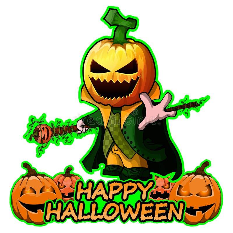 Les joyeux personnages de dessin animé de potiron souhaite Halloween heureux sur le fond blanc illustration de vecteur