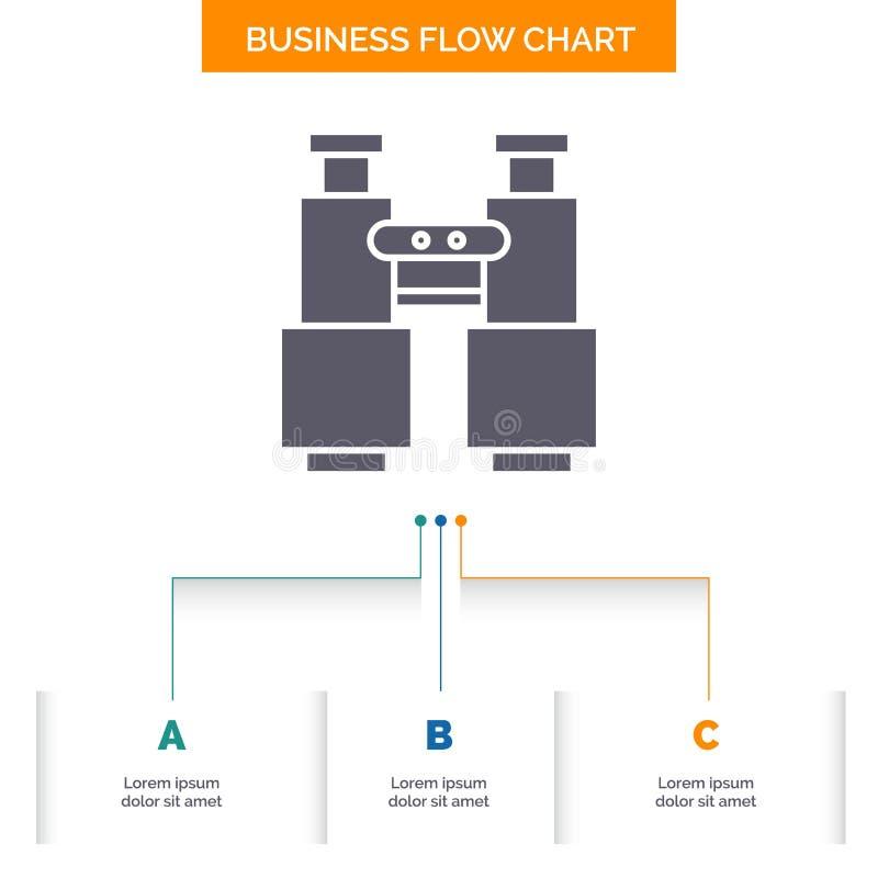 les jumelles, trouvent, recherchent, les explorent, conception campante d'organigramme d'affaires avec 3 étapes Ic?ne de Glyph po illustration stock