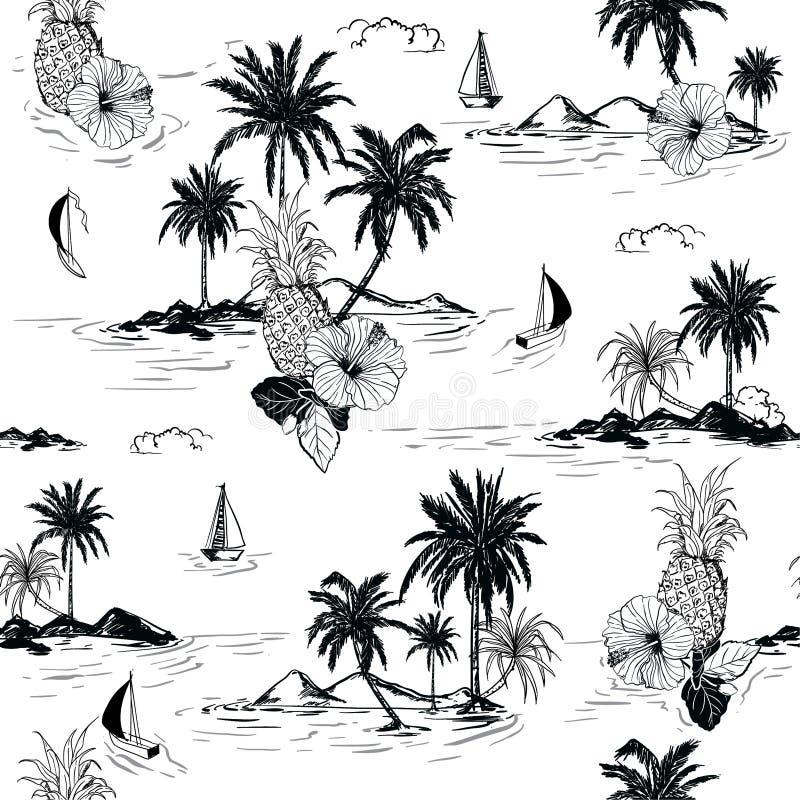 Les ketmies hawaïennes d'humeur d'île noire et blanche d'été fleurissent, plam illustration stock