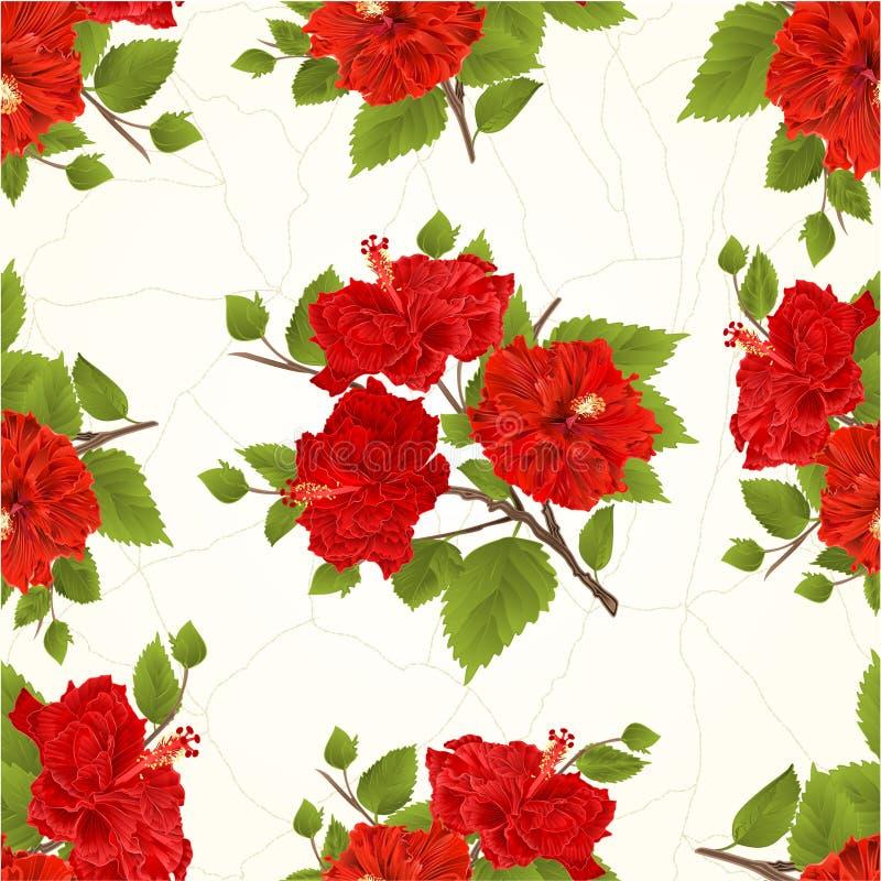 Les ketmies rouges de texture sans couture refoulent les fissures tropicales de fleur dans le vecteur de vintage de porcelaine illustration libre de droits