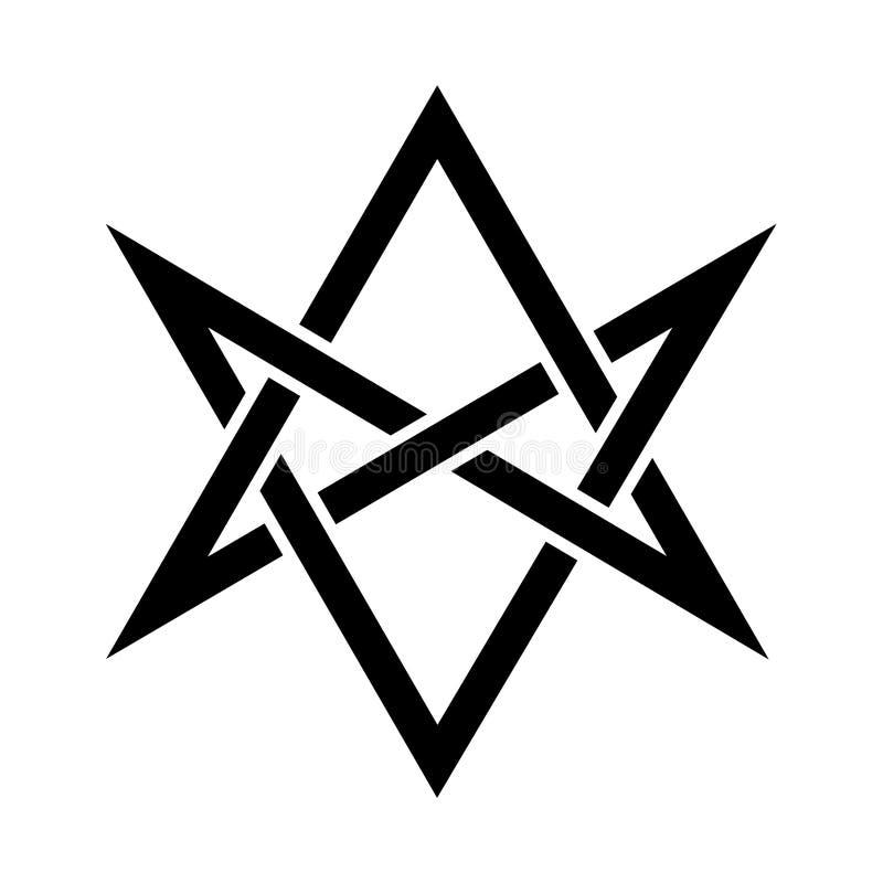 Les klaxons du hexagram unicursale mystique d'Asmodeus illustration libre de droits