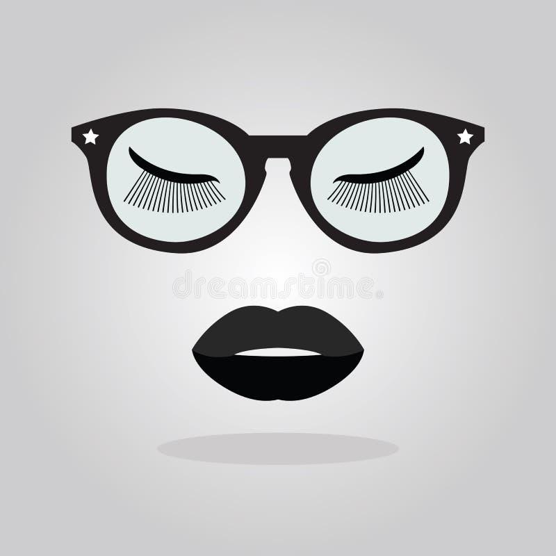 Les lèvres élégantes de dame avec des lunettes de soleil et des étoiles et des yeux fermés fouette des icônes sur le gris illustration de vecteur