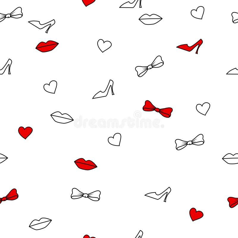 Les lèvres sans couture abstraites de fond chausse des arcs de coeurs blancs et rouges illustration libre de droits