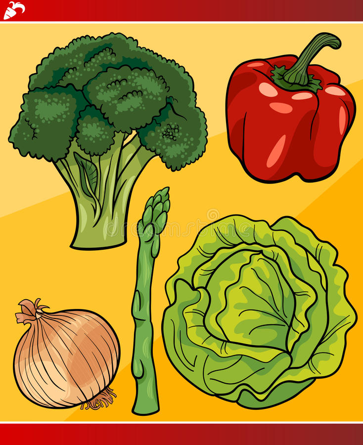 Les légumes ont placé l'illustration de bande dessinée illustration libre de droits
