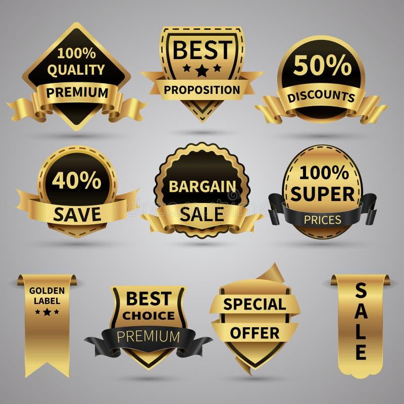 Les labels d'or de luxe et les emblèmes élégants d'or dirigent la collection illustration libre de droits