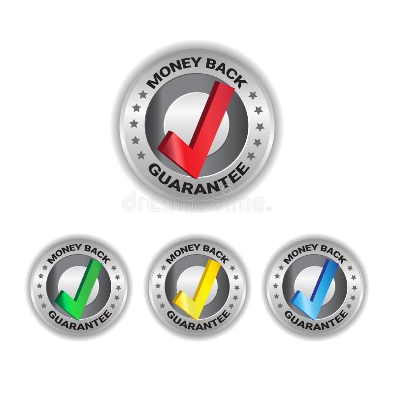 Les labels de calibre d'insigne de garantie de signe réglés par étiquettes arrières d'argent ont isolé la collection illustration libre de droits