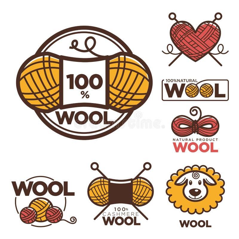 Les labels ou le logo de laine pour moutons le textile naturel de laine de 100 de pour cent purs étiquette illustration libre de droits