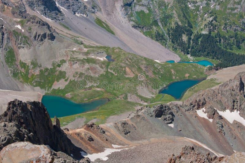 Les lacs bleus s'approchent de la région sauvage de montagne du Colorado de tellurure images libres de droits