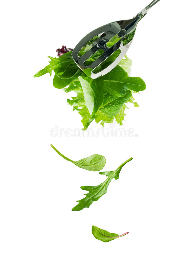 Les lames fraîches de salade tombent vers le bas photos libres de droits